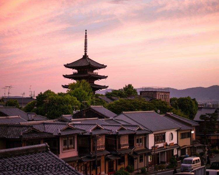 Sun going down Kyoto